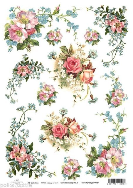 rice paper decoupage decopatch sheet vintage wild flowers floral bouquets motifs rice paper. Black Bedroom Furniture Sets. Home Design Ideas