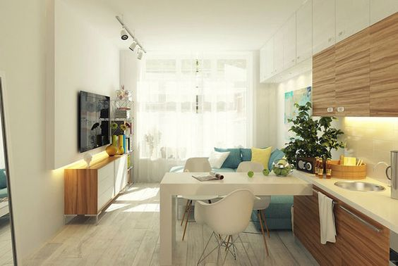 светлая маленькая кухня-гостиная в современном стиле