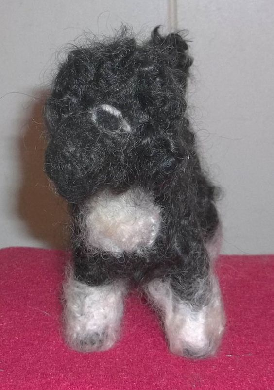 Cute and Curly Needle Felted Portuguese Water Dog