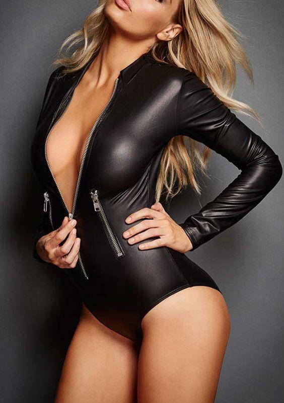 Black Patent Leather Zipper Bodysuit | Shop Womens Fashion Clothes at ZNU.com