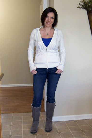 athleta sweater and skinny jeans