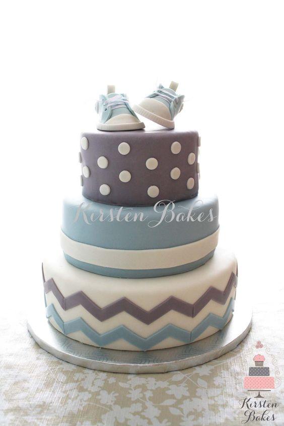 Baby Shower Cake Baby Boy Sneakers Converse Blue Grey White Chevron Stripes Dots:
