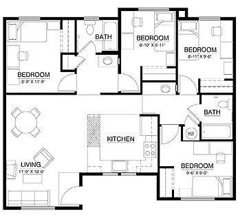 Fast acting find anything locator spell apartment floor for Three bedroom flat floor plan