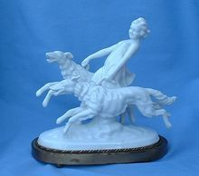 art deco girl and 2 running  Borzoi Grafenthal Germany 8""