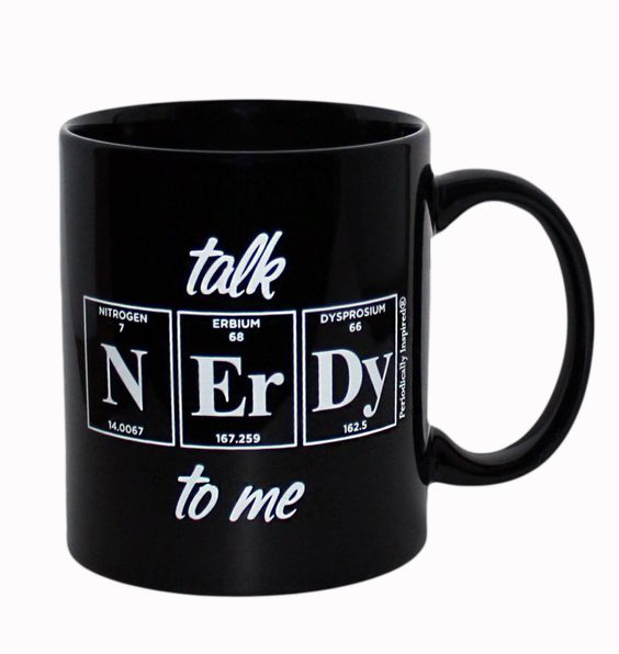 Nerdy By Nature Periodic Table Coffee Cup By Periodically Inspired Matte Black Finish With