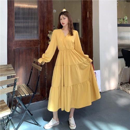 イエローロングワンピース ファッションアイデア ワンピース 韓国スタイル