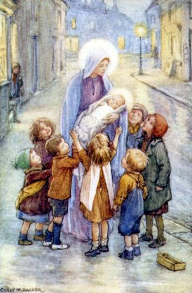"""Mary  Jesus    Cicely Mary Barker (28 June 1895 – 16 February 1973).  """"...and after this our exile, show unto us the blessed fruit of your womb, Jesus.  O clement, O loving, O sweet Virgin Mary."""":"""