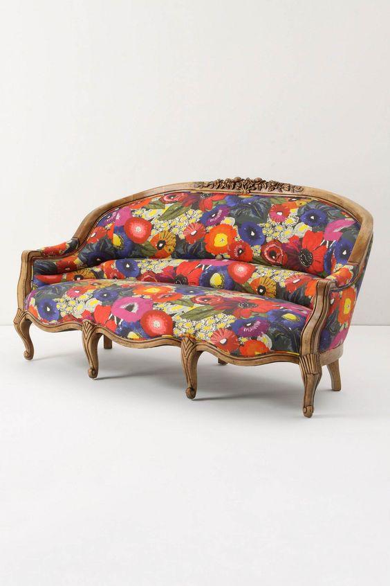 Amelie Sofa, Blazing Poppies - Anthropologie