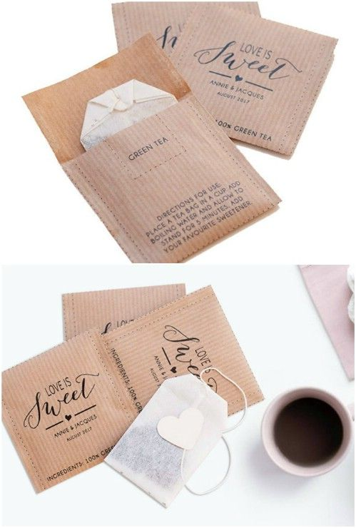 Personalised Tea Bag Packets Envelopes Wedding Favours Vintage Love is Brewing