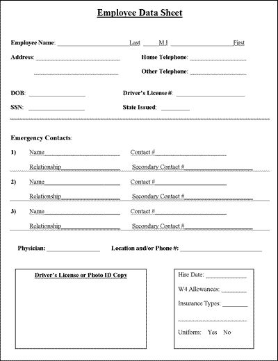 Employee Information Sheet – Contact Information Template Word