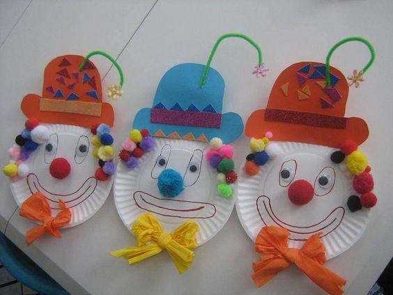 clowns aus papptellern schule basteln pinterest. Black Bedroom Furniture Sets. Home Design Ideas