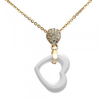 Check out this great White Ceramic Heart Necklace. . This is the perfect sentimental addition to any outfit!