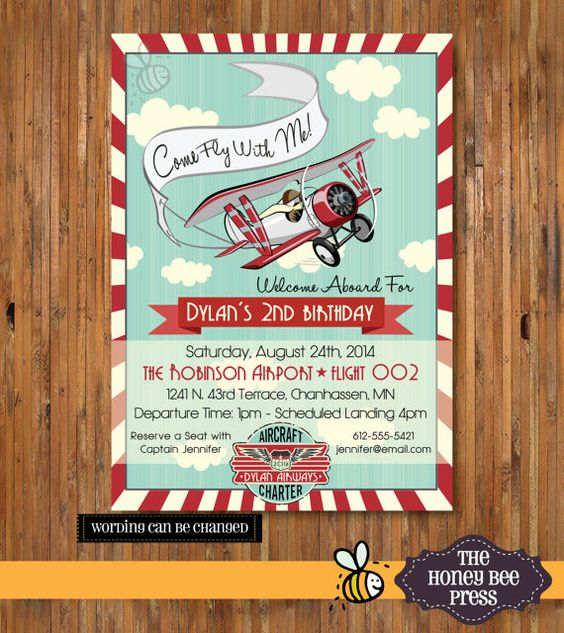 Airplane Birthday Invitation Diy Printable By Vindee On Etsy: Birthday Party Invitations, 10th Birthday Parties And