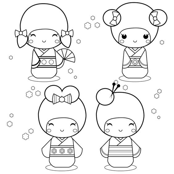 coloriage kokeshi art coloriage pinterest. Black Bedroom Furniture Sets. Home Design Ideas