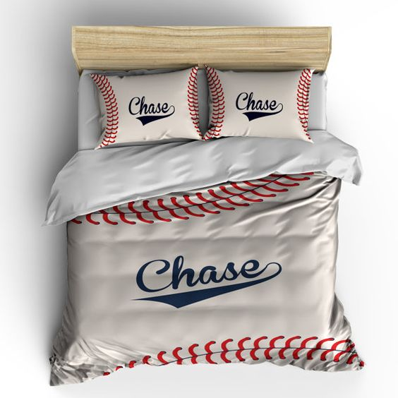 Monogrammed Stitched Baseball Theme Bedding -stitch look baseball design, Your monogram - can change colors