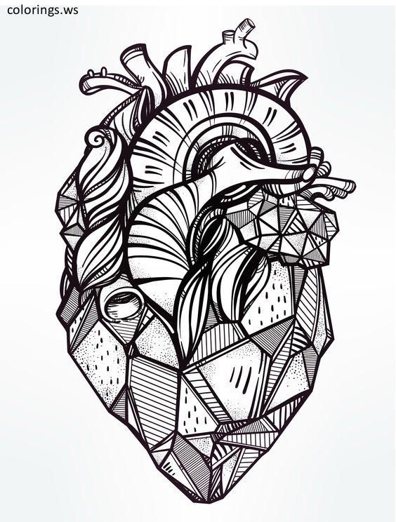 Printable Heart Coloring Pages For Adults, Adults Coloring Pages, Free Printable  Printable Heart C… Geometric Heart Tattoo, Tattoo Templates, Heart Coloring  Pages