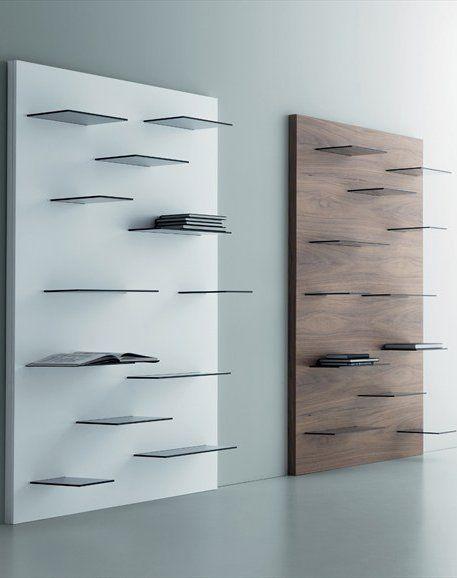 Open wall mounted walnut bookcase galaga by miniforms - Wall mounted bookshelf designs ...