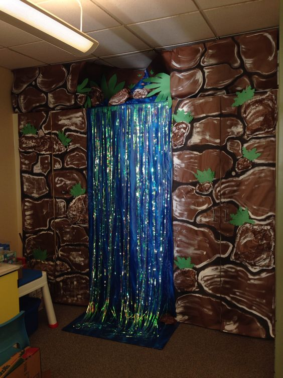 Classroom waterfall for rainforest theme