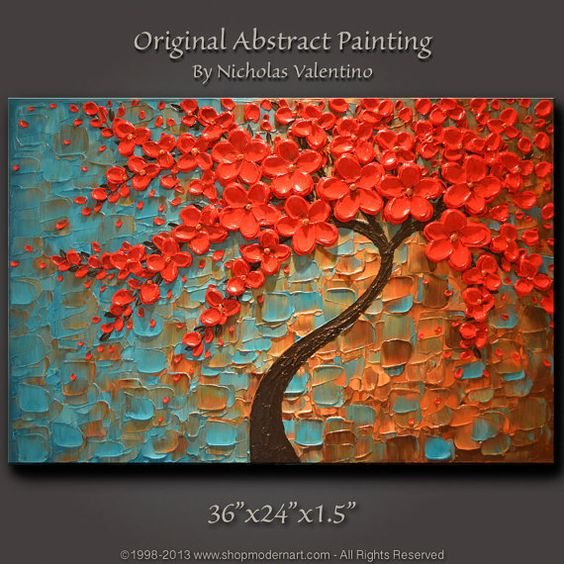 Large 36 x24 x1 5 original blossom tree painting palette for Canvas painting ideas for dining room