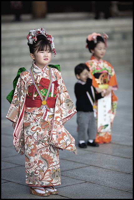 "Shichi-Go-San (七五三, lit. ""Seven-Five-Three"") is a traditional rite of passage and festival day in Japan for three- and seven-year-old girls and three- and five-year-old boys, held annually on November 15 to celebrate the growth and well-being of young children."