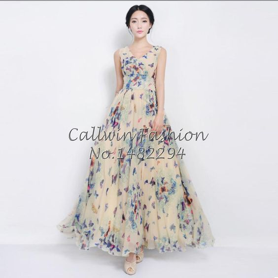 New 2014 Women Summer Maxi Dresses Long Beach Dress Woman Butterfly Chiffon Dress Print Dresses Plus Size-in Dresses from Apparel & Accessories on Aliexpress.com   Alibaba Group
