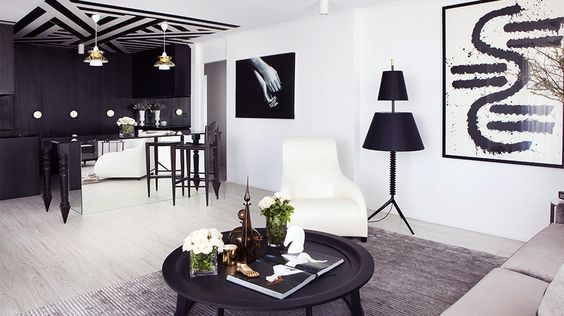 70's Apartment Gets a Bold Black and White Makeover // Two-tiered lamp and painted ceiling