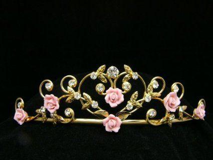 Amazon.com: Rose Flower Rhinestone Crystal Wedding Tiara Crown - Pink Roses Gold Plating: Beauty