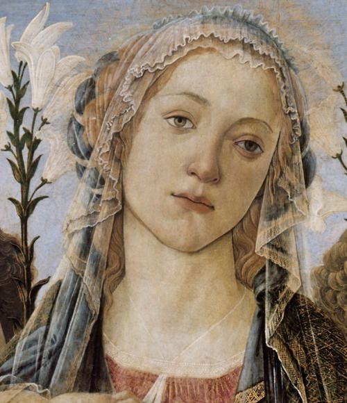 Sandro Botticelli, Mary with the Child and Singing Angels (details). c. 1477.
