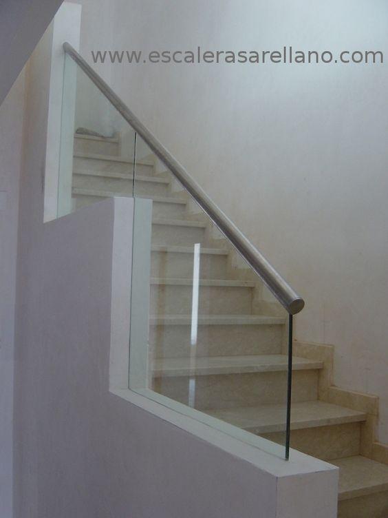 Barandilla de cristal laminado con pasamanos de acero inoxidable barandilla de acero - Barandilla cristal escalera ...