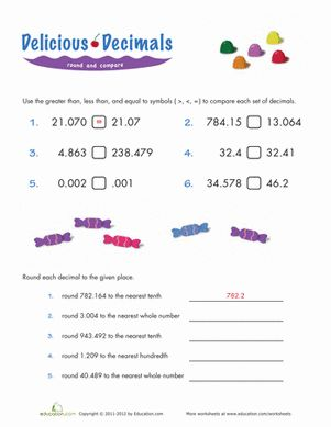 Comparing Decimals | Place value worksheets, Decimal and Fifth grade