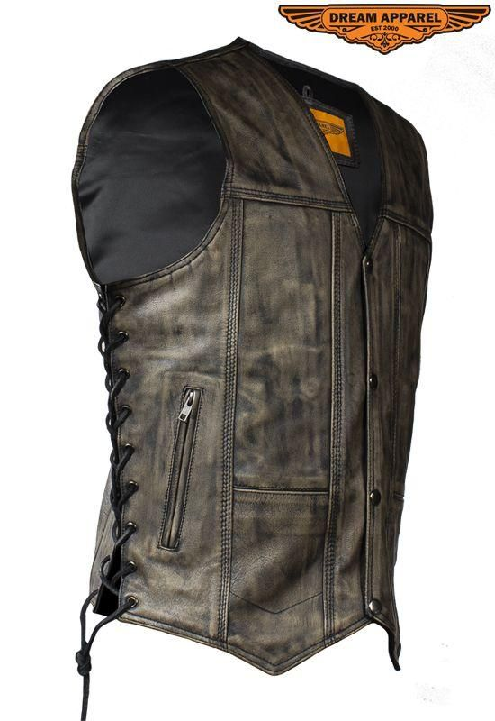 Mens Distressed Brown Motorcycle Vest With 10 Pockets Motorcycle Vest Leather Biker Vest Distressed Brown