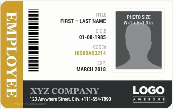 Free Id Card Template Word Fresh Employee Id Badge Template Free Download Card Vector Blank Employee Id Card Id Card Template Identity Card Design
