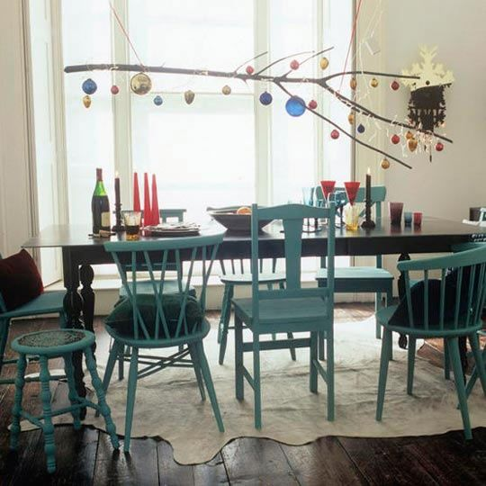 mismatched dining chairs, uniform color. For the kitchen.