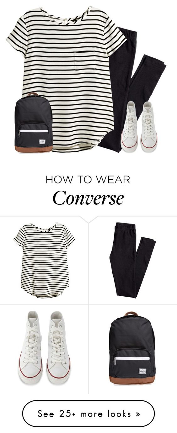 """""""Clean pair of sneaks.."""" by xxglamwithjessxx2 on Polyvore featuring H&M, Converse and Herschel Supply Co."""