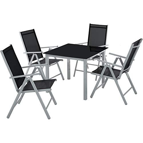 Tectake Aluminium 4 1 Salon De Jardin Ensemble Sieges Meubles Chaise Table En Verre Diverses Couleur Table En Verre Chaise Pliante Meubles De Jardin En Rotin