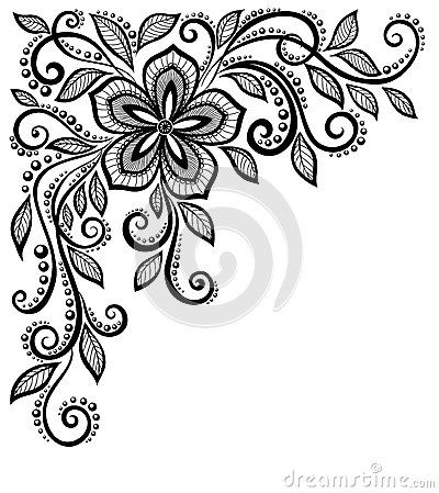 Beautiful black-and-white lace flower in the corne by 1evgeniya1, via Dreamstime