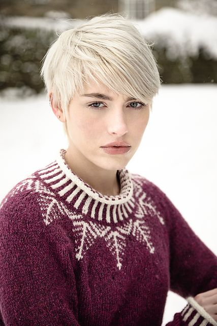Ravelry: Etherow pattern by Sarah Hatton. I like the sweater...and the hair cut. S.