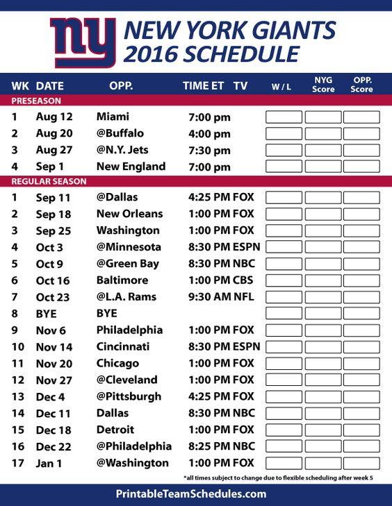New York Giants 2016 Football Schedule. Print Schedule Here - http://printableteamschedules.com/NFL/newyorkgiantsschedule.php
