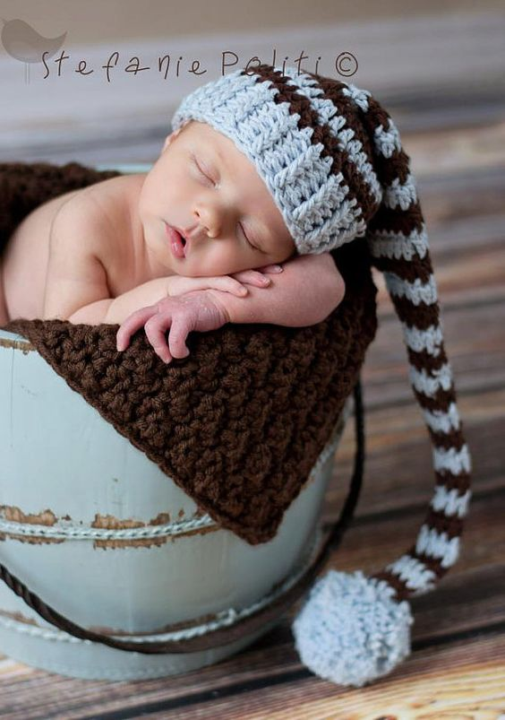 Baby Shower Gift. Great for Professional Photo Props Birth Cards Baby Blue and Brown with PomPom Newborn Baby Boy Stocking Hat