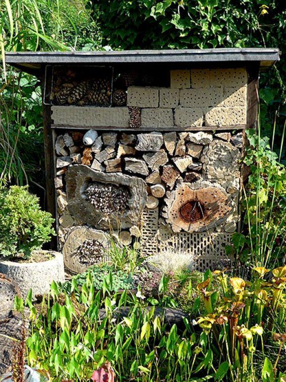 Der Standort eines Insektenhotels muss sonnig sein. Wichtig ist eine Wasserquelle in der Nähe wie hier am Rande eines Teiches. Es genügt aber auch eine Schale mit Wasser, z.B. ein Vogelbad.