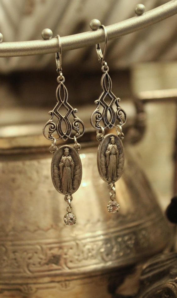 Our Lady of Knock Silver Earrings Upcycled by TheGildedGypsies, $38.00