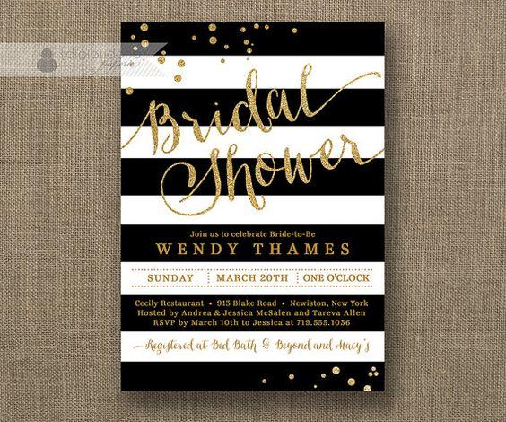 Black & White Stripe Bridal Shower Invitation Gold Glitter Dots Modern Script Classic FREE PRIORITY SHIPPING or DiY Printable - Wendy