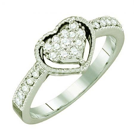 Thanks for Sharing!  0.32 Carat (ctw) 14k White Gold Round White Diamond Ladies Bridal Heart Promise Engagement Ring - Dazzling Rock #https://www.pinterest.com/dazzlingrock/