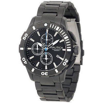 Nautica Men's N23536G Black Dial Black Bracelet Bfd 101 Dive Style Chrono Watch