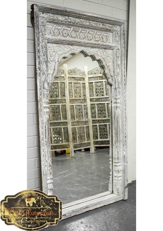 White Vintage Indian Mehrab Antique Mirror Antique Mirror Bali