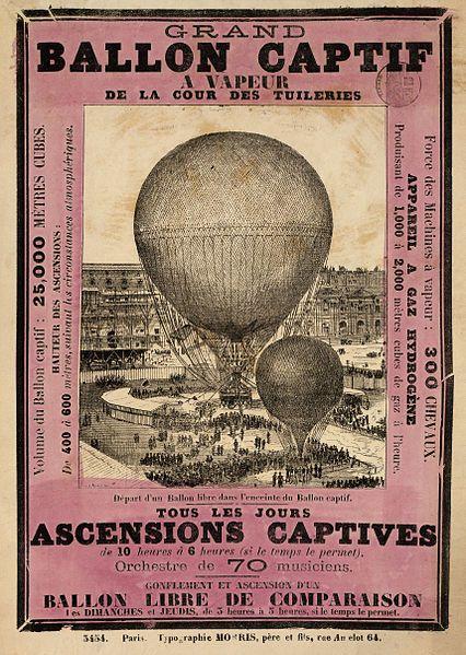 Grand ballon captif a vapeur de la cour des Tuileries by Henry Giffard (1878)