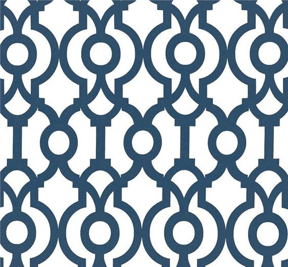 Designer Drapery Fabric Navy Blue By The Yard Geometric Upholstery Contemporary Modern Nautical