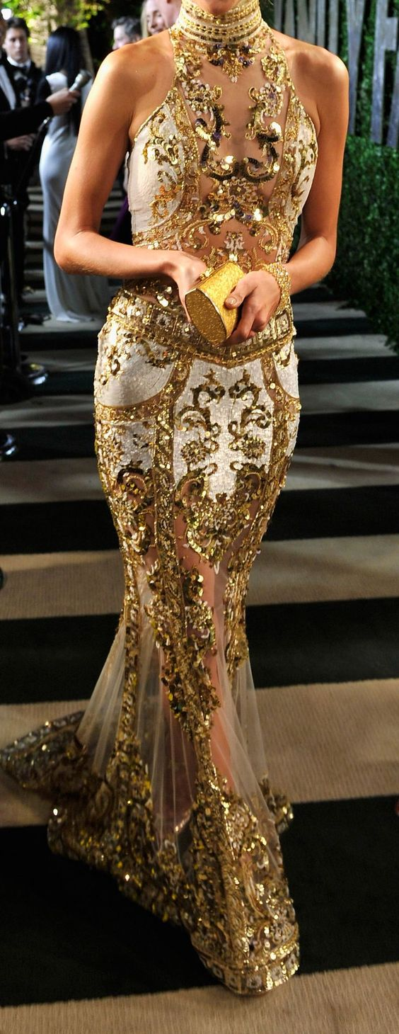Zuhair Murad Gown // Follow SoFreshandSoChic.com for more gold inspiration. #zuhairmurad #couture