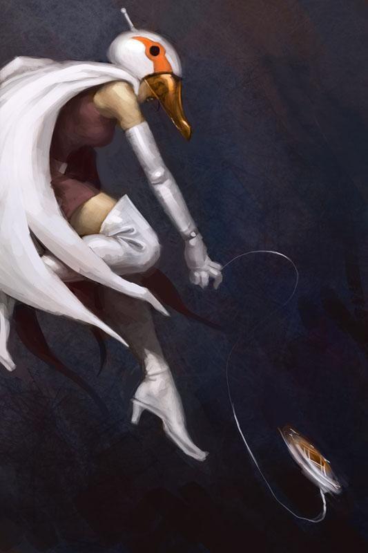 黒い背景に映える白鳥のジュンのかっこいい画像。