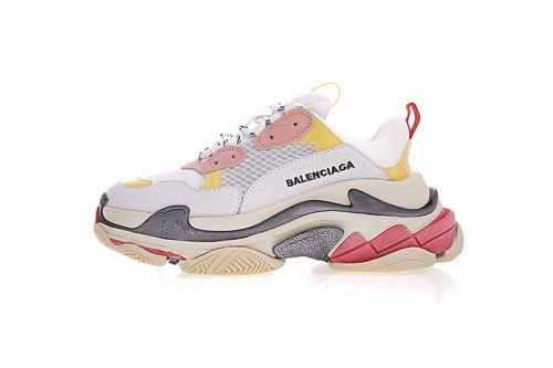 God Balenciaga Triple S Trainer Yellow Blue Red On Feet